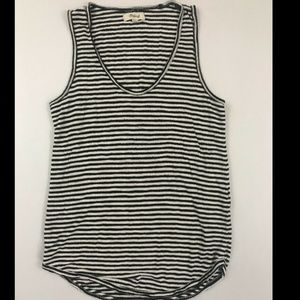 Madewell Black Striped Anthem Scoop Neck Tank Top
